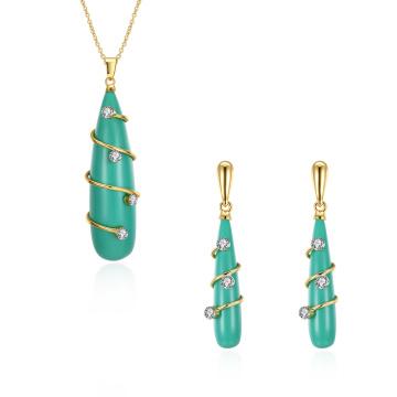 Resin Anhänger Frauen Schmuck Set Green Resin Gold Halskette und Ohrringe Set