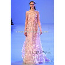 Frühling 2014 Empire Hochzeitskleid Jewel Neck Sheer Langarm Handgemachte Blume Perlen bodenlangen Brautkleid NB042