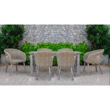 Einfache Design Poly Rattan Wicker 6 Stühle Ess-Set Für Outdoor Garten Patio Wicker Möbel