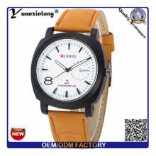 Yxl-374 neue Design Leder Herrenuhr Militär Armee größeren Gesicht Curren Luxusmarke Uhren Männer