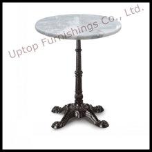 Base de hierro de la vendimia Mesa de cena blanca de mármol (SP-RT458)