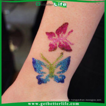 2015 getbetterlife corps réutilisables art Glitter tattoo stencil/paillettes tatouage pochoirs/gros glitter