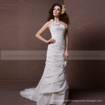 Elegant Mermaid One Shoulder Flowers Pleated Wedding Dress Sweep Train