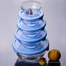 Bol en verre trempé avec couvercle en plastique bleu Ensemble de 5