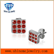 Fashion Red CZ Jewelry Stainless Steel Earrings