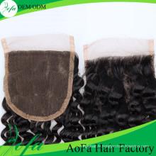 Cheveux de fermeture de vague profonde d'Aofa, extension de cheveux humains vierges de Remy