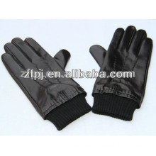 men black tight winter sheepskin leather gloves with knitted