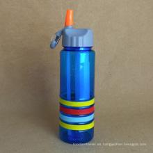 Botella de agua de plástico, PC botella con paja