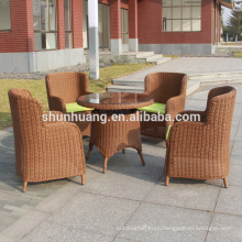 Hot sale round wicker garden chairs outdoor dining sets 4 chairs and table