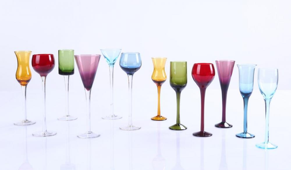 Br 9127long Stem Liqueur Shot Glasses Set Wholesale Various Shape Colored Wine Glasses Goblets