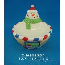 Bol en bonbon de bonhomme de neige en céramique peinte à la main
