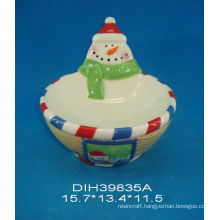 Hand-Painted Ceramic Snowman Candy Bowl