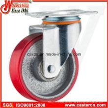 Rueda giratoria PU de 5 pulgadas de medio uso con eje de hierro fundido