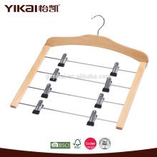 Crochet de jupe en bois à économie d'espace avec 4 niveaux de clips en métal