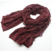 Леди мода простой Цвет вискоза акрил вязаный Весенний шарф (YKY1159)