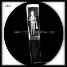 K9 3D laser sous-surface portrait gravé cristal bloc
