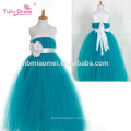 Girls Party Tutu Dress With Ribbons Sashes Piano Dress Green Tulle Flower Girl Princess Dress For Kids Pageant Performance