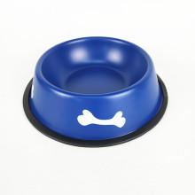 Красочные округлые миски для животных из нержавеющей стали с противоскользящей нижней миской для собак
