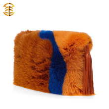 Plus de couleurs Trim Genuine Fox Fur Women Hand Bag Avec Tassels