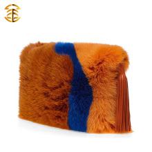 Mais cores Trim Genuine Fox Fur Women Hand Bag Com Tassels
