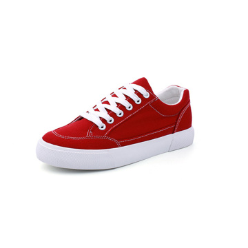 Frauen Low Top Lace Up Canvas Schuhe Rot