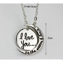 Je t'aime pendentif, pendentif pendentif en lune, bijoux en argent (YN0177-1)