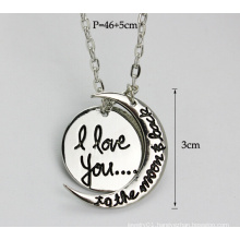 I Love You Pendant, Moon Pendant Necklace, Silver Necklace Jewelry (YN0177-1)
