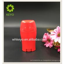 Envase cosmético vacío coloreado rojo del palillo del desodorante del embalaje de la alta calidad caliente de la venta 50g