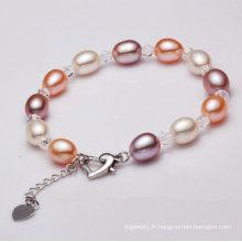 Bracelet à perles cultivées en eau douce de 8-9mm AAA Rice Shape