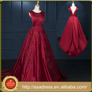 RASA-07 Großzügige Rosen-rote Fleck-formale Partei-Kleid-Schnitt V-Rückseite Handgemachte gestickte Spitze Alibaba Abend-Kleid