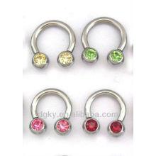Piercing en acier inoxydable en forme de perles circulaires avec gemme