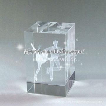 2015 Cube 3D Laser Grabado Crystal Regalos para Dancer Favors Souvenirs