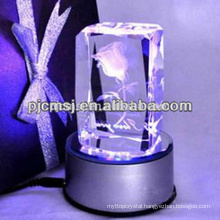Led light base crystal 3d laser for christmas gifts