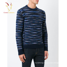 Fashion Men Colorful Thick Needle Knit Jacquard Sweater