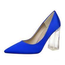 chengdu manufacturer discount transparent block heel satin upper work party wedding fashion dress shoes for ladies women