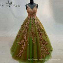 2016 Verde Volver Ver A Través Vestido De Boda Vestido De Bola Bridemaid Vestidos Golden Appliques Vestido