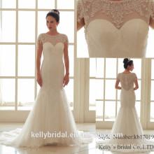2017 vestidos de noiva de moda popular com corpete de renda