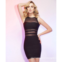 High Neck Sheath Dress with Column Short Mini Bandage Dresses