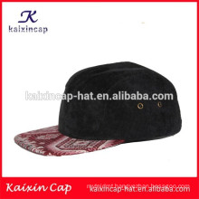 black corduroy cap crown and red printing high quality&blank new desighed 5 panels camp cap with belt strap