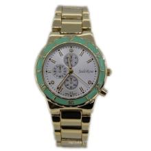 Chapado en oro verde anillo superior dama reloj de cuarzo