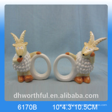 Elegant ceramic paper napkin ring with goat figurine