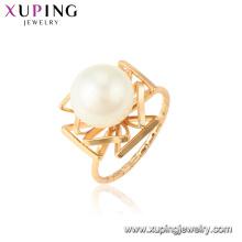 15435 xuping nuevo artículo de moda preciosa perla de agua dulce 18k anillo de oro joyería de mujer