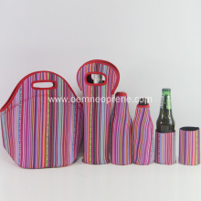 Custom Stripe Neoprene Lunch Cooler Handbag