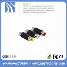 Adaptador 3RCA para 3RCA Adaptador de cabo do acoplador AV RCA de 3 vias fêmea para fêmea F para F