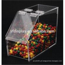 Caixa de exposição acrílica para suporte de doces em cor clara