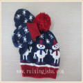 Kids winter knitted earflap hat and scarf set with jacquard snowman design