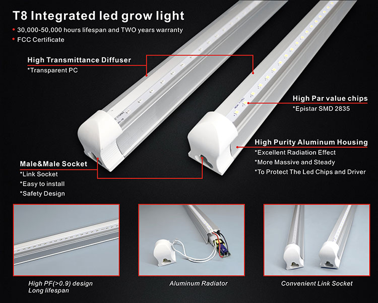 T8 Integrated LED Grow Tube Light