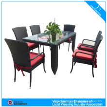 Outdoor rattan furniture hotel dining pencil table and chairs