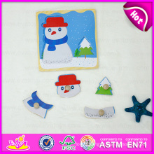 2015 Christmas Gift Wooden Jigsaw Puzzle Set Toy, Snowman Shape Wooden Puzzle Set Toy, Wooden Toy Puzzle Game with Knobs W14m072
