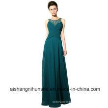 Elegant Chiffon Beading Neck Prom Gowns Sleeveless Evening Dresses